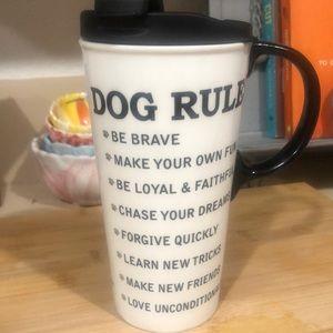 Cypress Home Dog Rules Ceramic Travel Coffee Mug
